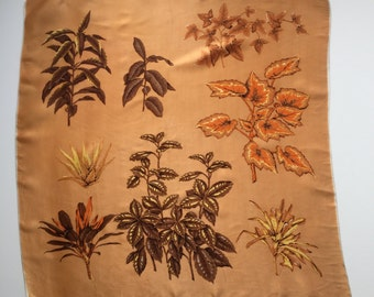 SALE* Vintage Silk/Satin-type Material Scarf Botanical illustration print in Golden Amber Gold Orange Colours 70's/80's