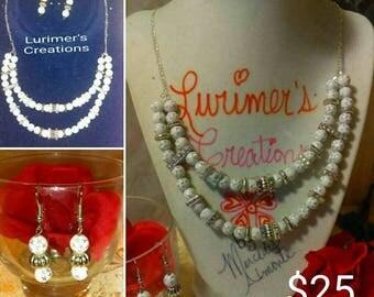 "20"" Delicate White Necklace Set"