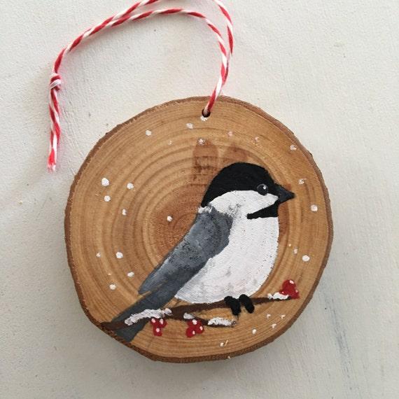 Chickadee Bird Ornament - Christmas Ornament - Rustic Wood Christmas Ornament - Bird Ornament
