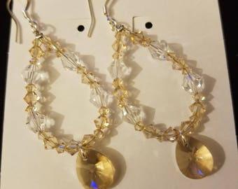 Champagne Swarovski Drop Earrings