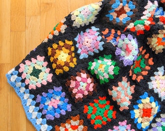 granny square blanket   handmade afghan   vintage crochet   black and neon   large cozy knit