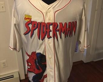 Vintage SpiderMan Universal Studios Marvel Baseball Jersey
