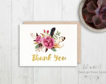 printable thank you card printble boho wedding thank you card bohemian flower posie watercolor floral wedding bridal shower thank you gold