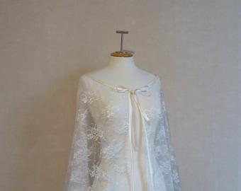 bridal Lace cape, bridal capelet,long wedding cape ,bridal cover up