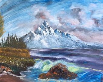 "Mountain Hues - wall décor acrylic painting, 16""x20"" canvas stretched/wrapped on 5/8"" bars"
