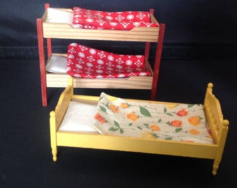 Vintage bed and bunk bed for lundby dolls house
