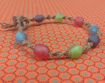 SALE - Colourful Fair Trade Recycled Glass Beads on a Hemp Bracelet - 15% off all items - Eco-friendly - Natural - Surf - Beach - Boho