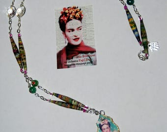 "Capsule collection ""Frida""-green necklace ""Viva la vida"""