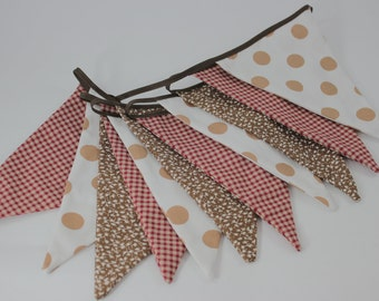 """8'8"""" (2.7m) Fabric Bunting, Brown and Red Bunting, Flag Banner, Wall Decor, Party Decor, Kids Decor, Cake Smash"""