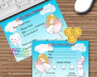Tooth Fairy Receipt and Tooth Fairy Message, Lost tooth Receipt, Tooth Fairy Letter Gift, Tooth Fairy Keepsake Set - Instant download