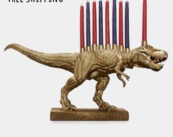 Gold Dinosaur Menorah