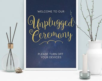 Unplugged Ceremony Sign Printable, Navy and Gold Unplugged Wedding Sign, INSTANT DOWNLOAD Unplugged Wedding Poster/Sign Starry Night 8.5x11