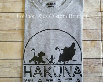 Hakuna Matata WHITE short sleeve shirt. (Please message me first prior to purchase to request a different color tee)