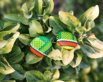 Renewal Series - Green/Yellow/Orange Button Earrings
