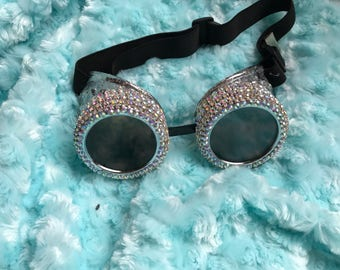 Rhinestone goggles, steampunk goggles, burning man, goggles, festival, burning man goggles