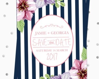 Save the Date Invitations - Stripes - DIGITAL