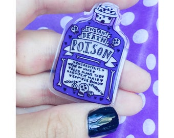 Cute Punk Pin Poison Bottle Handmade By Sugarbeam in Byron Bay
