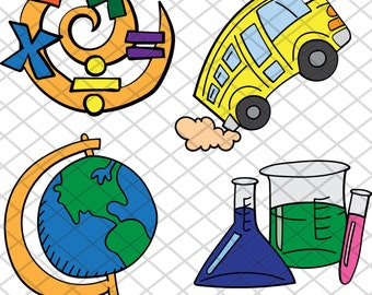 School Stuff - bus, globe, math and science - SVG