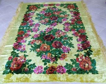 Vintage velvet  blanket Soviet velvet bedspread floral Bedspread Floral carpet Cotton tablecloth Wall mat Vintage velvet tablecloth.
