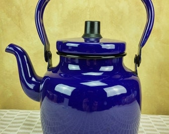 Swedish Kockum Enamel cobalt blue Teapot vintage retro kettle