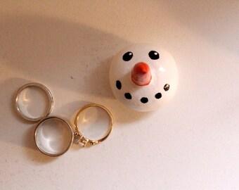 Ring Holder-Snowman-Carrot Nose-White-Orange-Sparkle-Glitter-Cute-Clay-Handmade-Ring-Unique-Decor-Storage