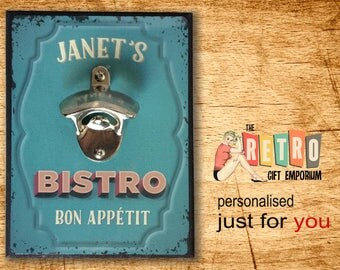 Bistro Sign Bottle Opener Wall Mounted Retro Style Bar Sign Metal