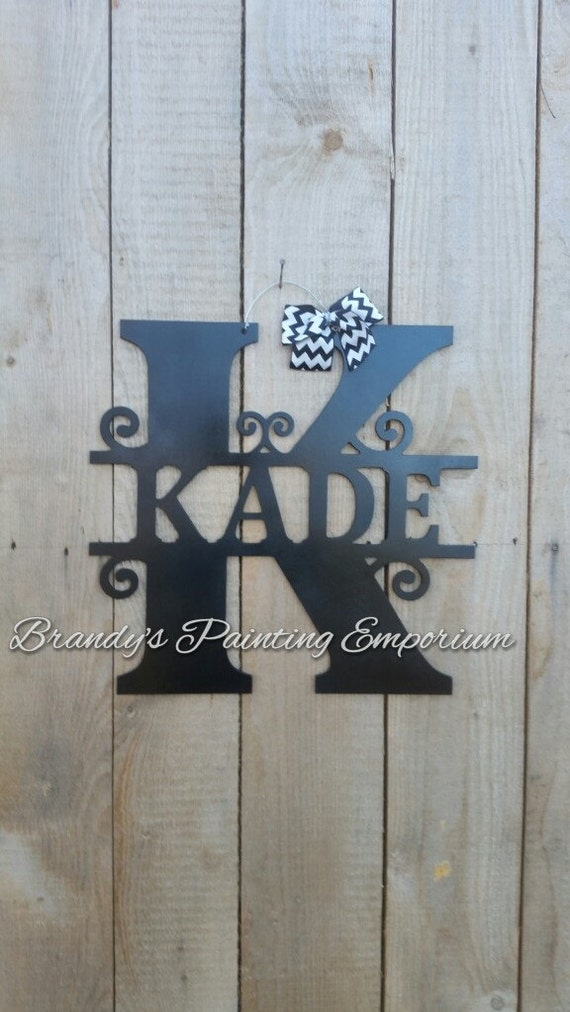 Last name door hanger monogram home decor door hanger hand