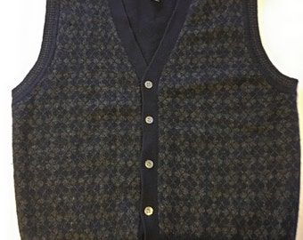 Club Room Men's Size M Black 100% Lambswool V-Neck Cardigan Sweater Vest Vintage