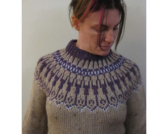 Nordic style sweater, wool blend, hand knitted