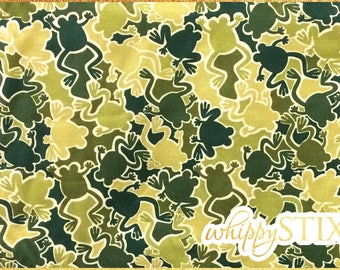 Frog Fabric By the Yard Fabric, Camouflage Frog Mix by Greta Lynn for Kanvas 4819, BTY Olive Green Camo Frog Cotton Fabric, Hard to Find