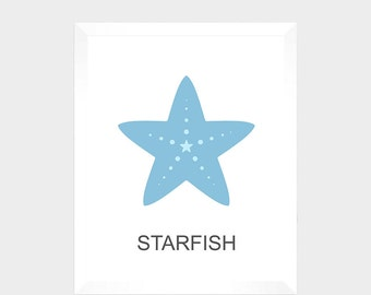SALE - Nautical Print - Starfish - Digital Print - Nursery Decor - Baby Print - Instant Download - Nautical Decor - Nursery - Baby Print