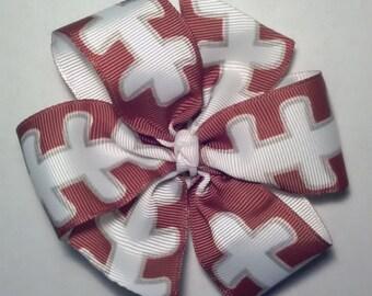 Football Hair bow, Pinwheel Hair Bow.