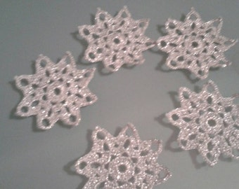 12 Silver crochet snowflakes. Set of 12 silver snowflakes. Winter decoration christmas decoration christmas tree decoration