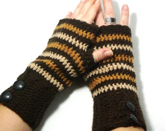 "50% OFF Crochet Gloves: ""BROWN GLOVES"" Fingerless Brown mittens, Hand Warmers Hand Knit Mittens, Ladies Winter Mittens Winter accessory A179"