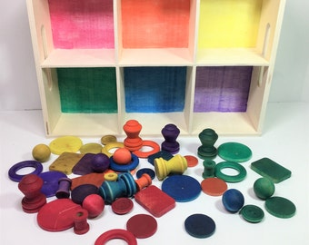 Color Sorting and Object Classification Activity / Reggio / Waldorf / Montessori / Preschool /Numerals / Color Matching / 6 Section Tray