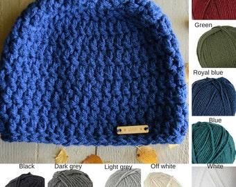 Crocheted hat Woman Acrylic WAARM Winter Autumn Blue