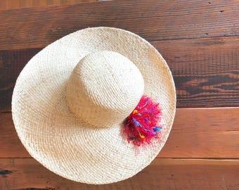 Straw Sun Hat with Pom Pom