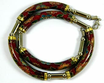 Vintage Dark Red Cloisonne Copper Enamel Arc Tube Necklace,Floral Pattern,Good Jewelry Collection,Chinese Traditional Handicraft