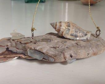 Driftwood Sea glass Shell Ornament