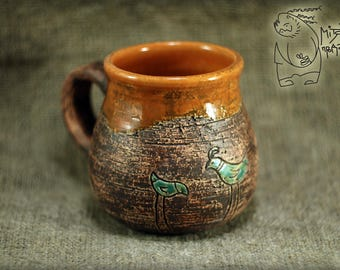 Pottery mug with Bird, 10 oz, Handmade ceramic, coffee cup, Gift teacup, wheel thrown mug, warming gift, handmade teacup, orange ceramics
