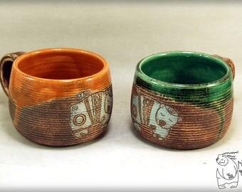 Ceramic mug with bear, Gift Pottery teacup, Orange mug, Green mug, Interesting gift, gift for him, Ceramic coffecup set, Decor house