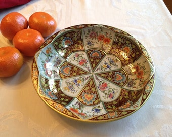Vintage English Daher Colorful Metal Bowl/Tray with Floral Design, Daher Bowl