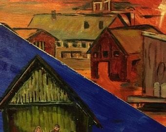 Barn, Baby, Edge of town, Nativity, Digital File of Original Acrylic on Wood