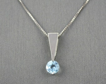 AQUAMARINE  IN 14 KARAT white gold mini necklace, gold pendant, aquamarine  gold pendant