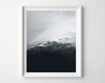 Abstract Smoky Mountains Poster, Nordic Print Art, Black White Mountain Printable Photography Art, Outdoor Photography Nature Wall Art
