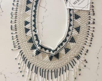 Fringe Goddess Beaded Tassel Necklace Choker