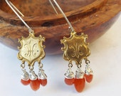 Carnelian earrings, fleur de lis, vintage metal earrings, sterling silver, orange carnelian, boho style, vintage 1960s