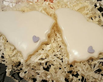 Personalized State Cookies, Wedding Favors, State Cookies, Cookie Wedding Favors