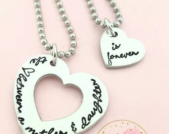 The love between a mother and daughter is forever-cursive - mother and daughter jewelry, mothers day gift