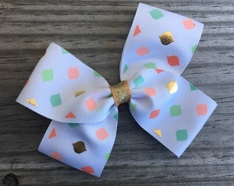 Gold Peach and Mint Green Bow